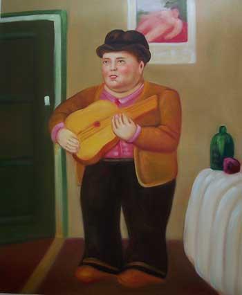 Falso di autore uomo che suona la chitarra di botero in vendita - Botero uomo in bagno ...