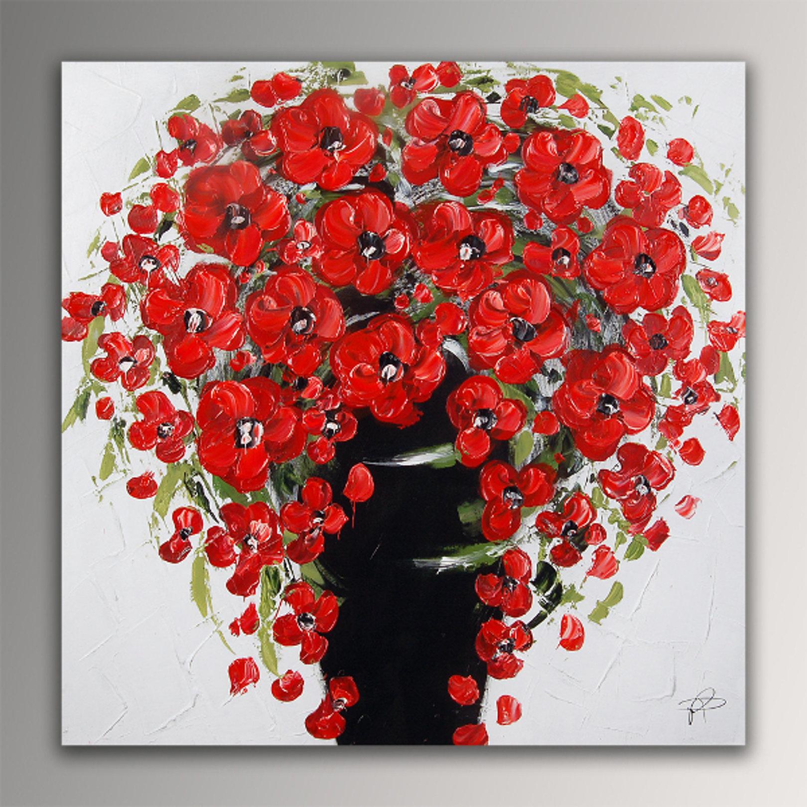 Quadro vaso fiori rossi di paolo rossini falso d 39 autore for Quadri con papaveri rossi