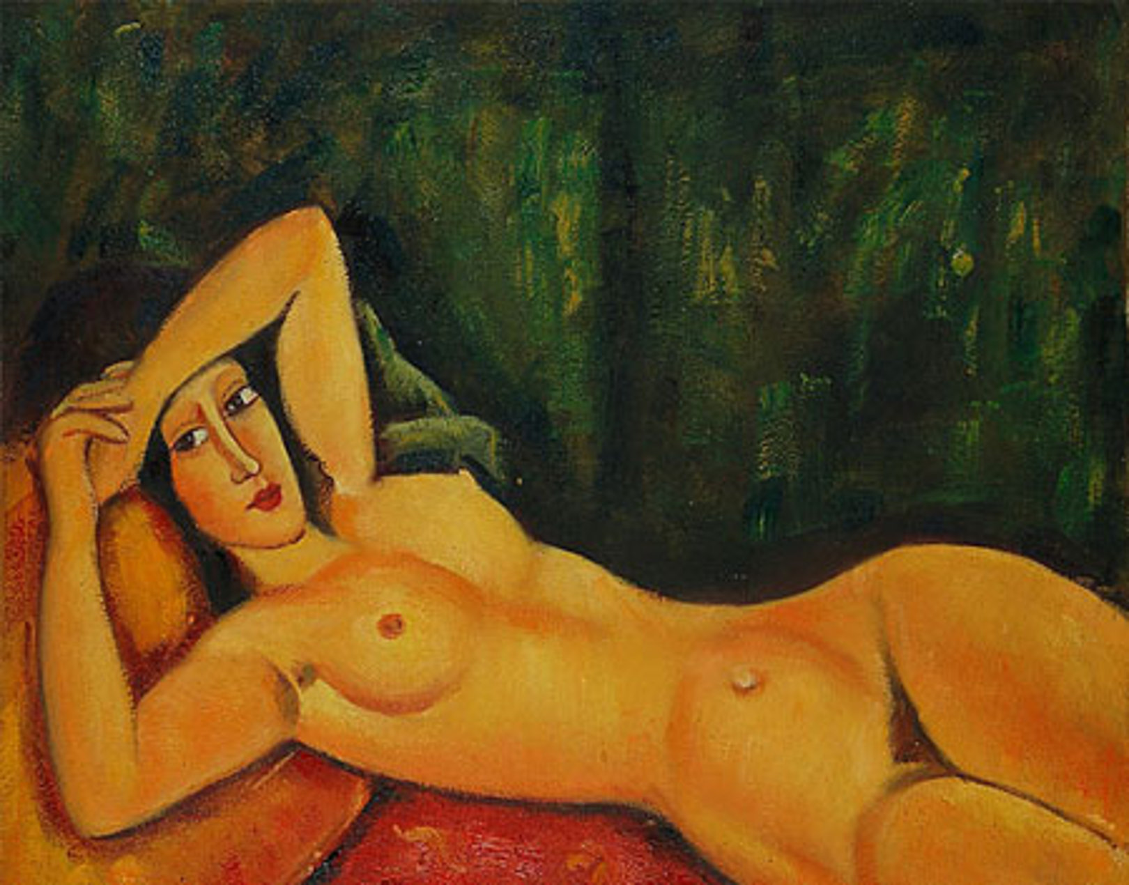 Reclining nude with left arm resting on forehead med