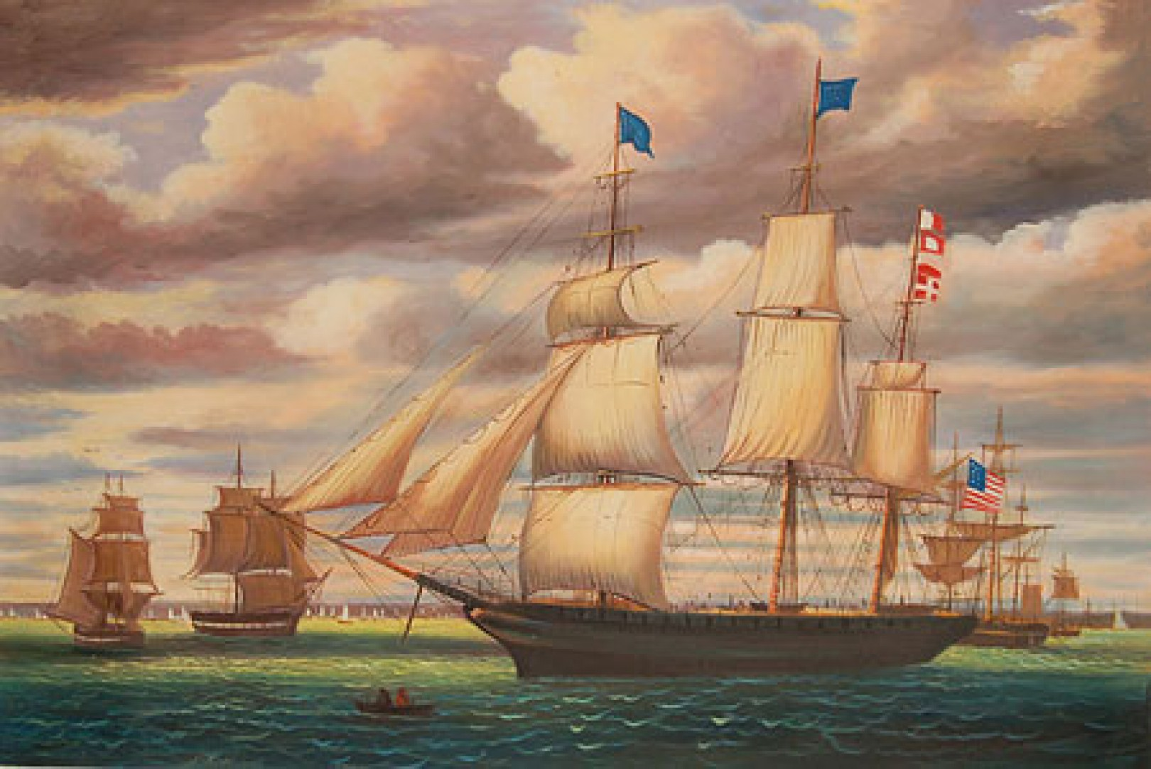 Clipper ship southern cross leaving boston harbor