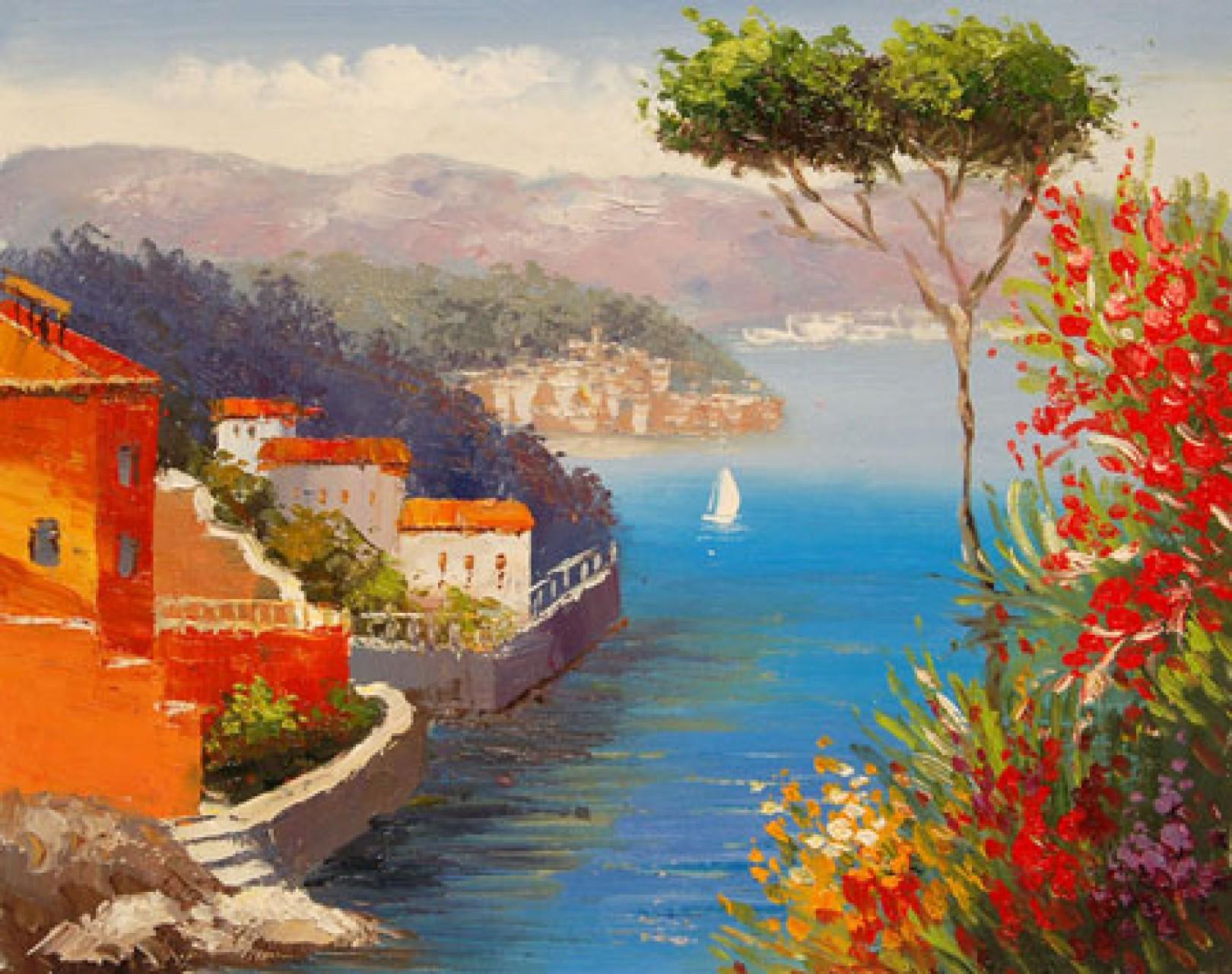 Quadro il lago di autore sconosciuto paesaggi impressionisti