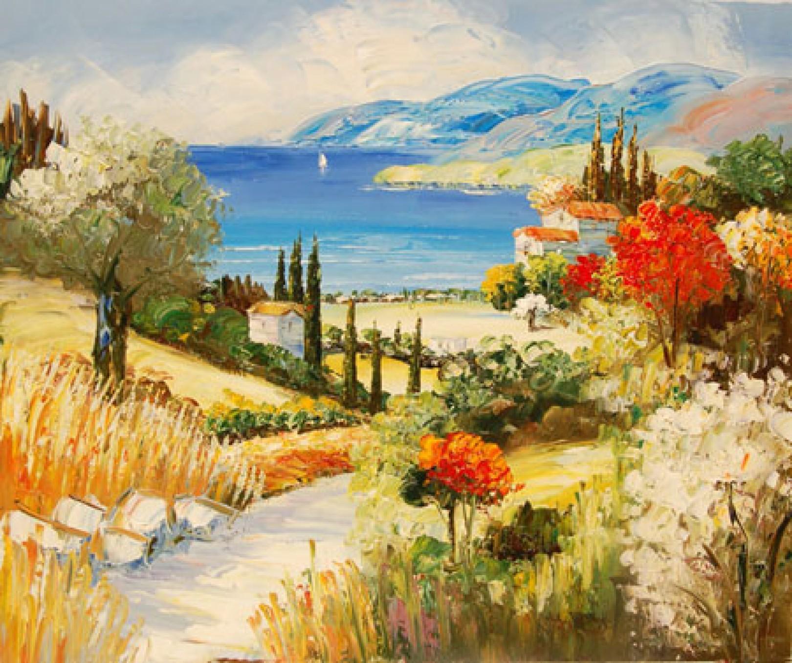 Quadro campagna toscana 1 di autore sconosciuto paesaggi for Quadri dipinti a mano paesaggi