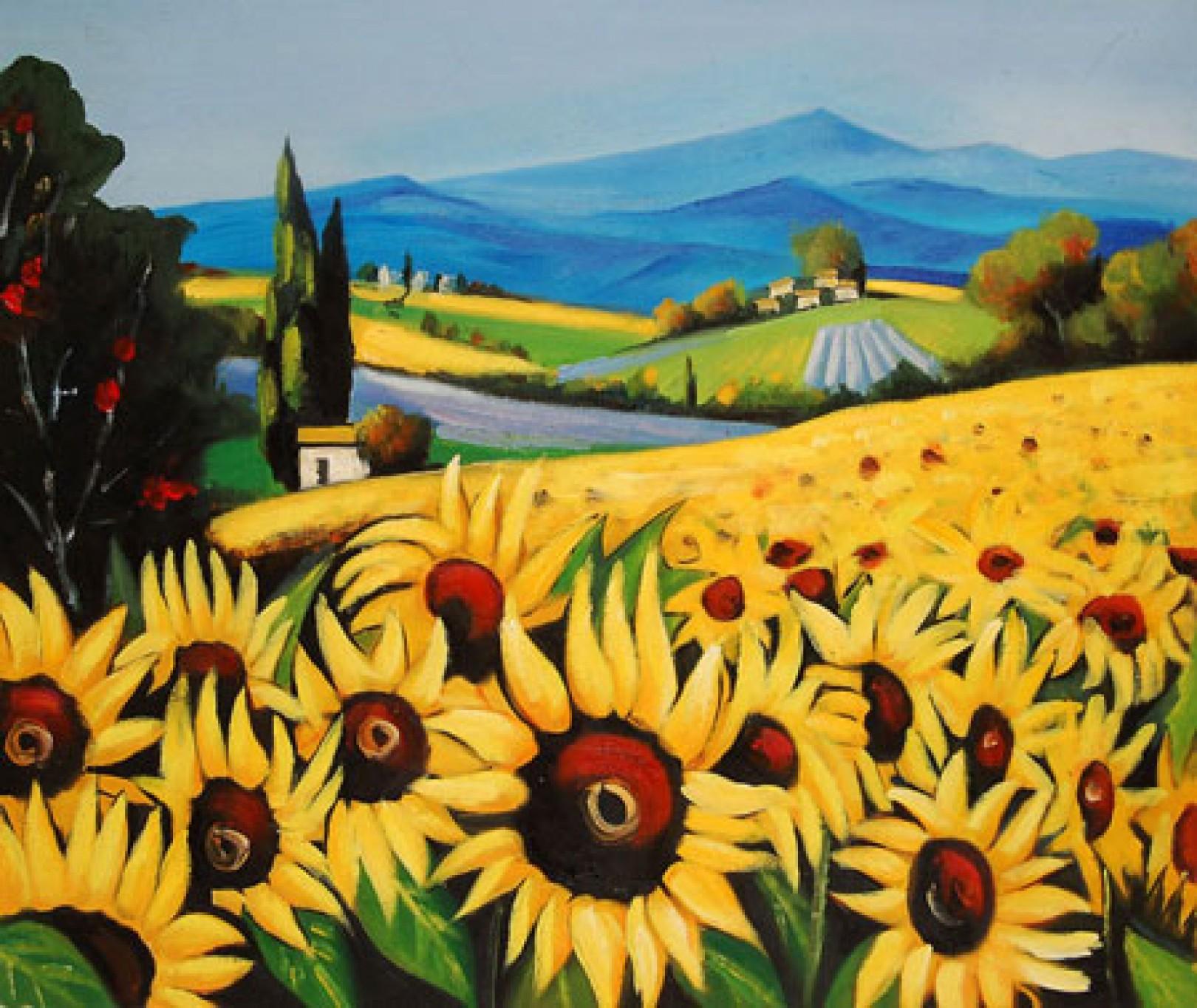 Quadro Girasoli di Autore Sconosciuto - Paesaggi Impressionisti ...