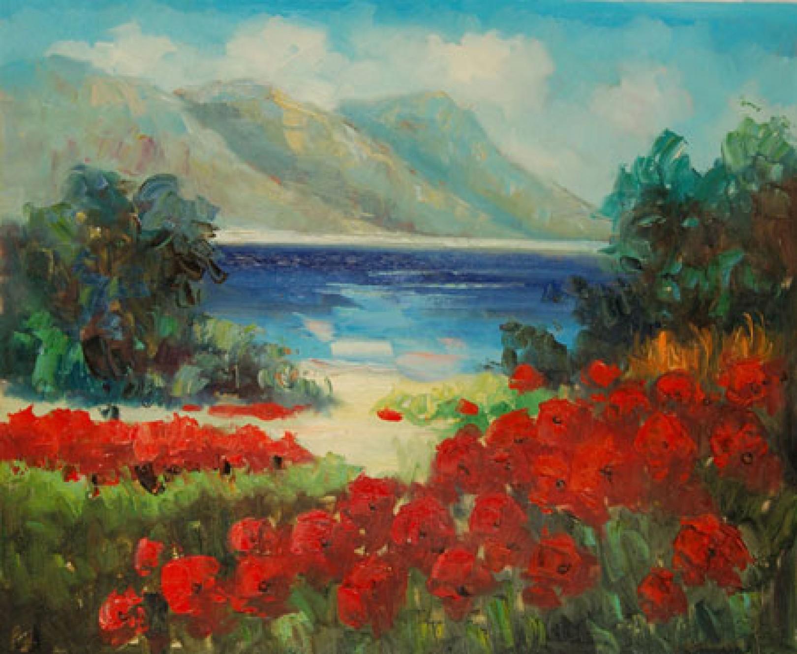 Quadro Spiaggia con papaveri di Autore Sconosciuto - Paesaggi  Impressionisti, falso d\'autore 50x60cm Paesaggi