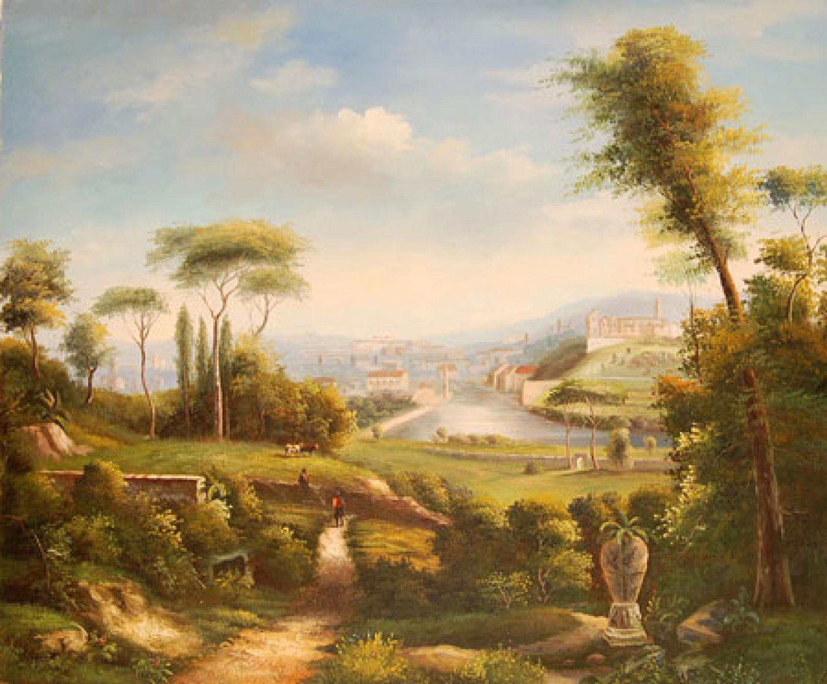 Quadro antico paesaggio 1 di autore sconosciuto paesaggi for Quadri dipinti a mano paesaggi