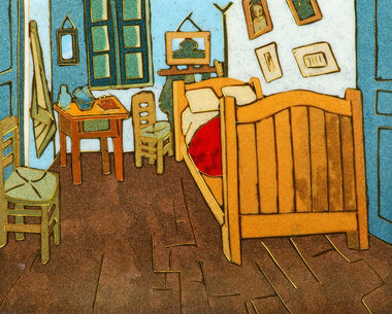 Quadro VAN GOGH Camera da Letto ad Arles di Pannelli, falso d\'autore 45X36  Pannelli - panels