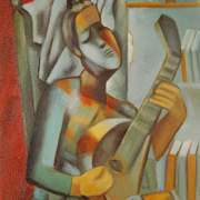 Woman playing the mandoline
