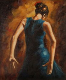 Ballerina di flamenco in blu