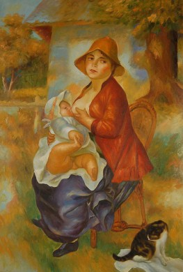 Mother nursing her child aline and pierre