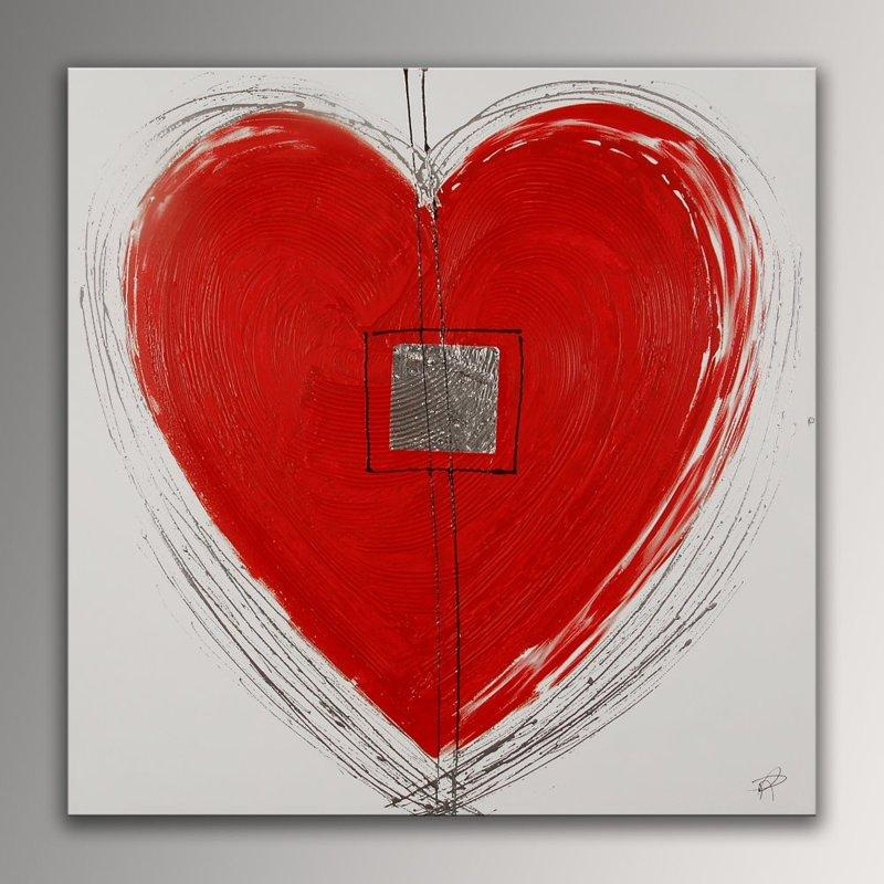 Quadro Cuore rosso di Paolo Rossini, falso d\'autore 100x100x3,5cm ...