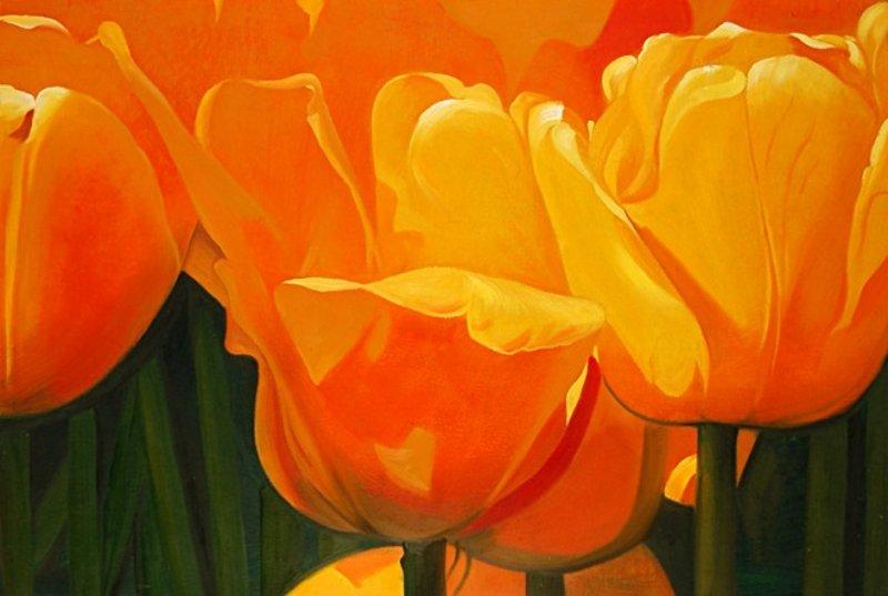 Quadri Con Tulipani: Quadro moderno pz tulipani gialli cm fiori ...