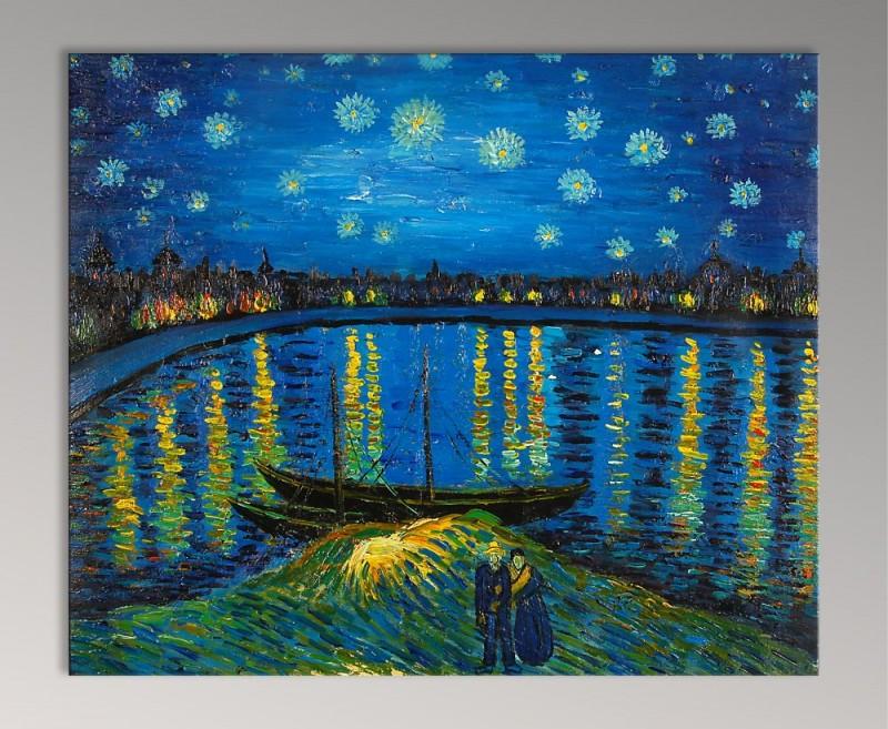 Quadro notte stellata sulla rhona di van gogh falso d for Notte di van gogh