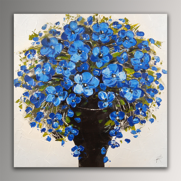 Falso di autore fiori blu con telaio estetico am di a for Immagini di quadri con fiori