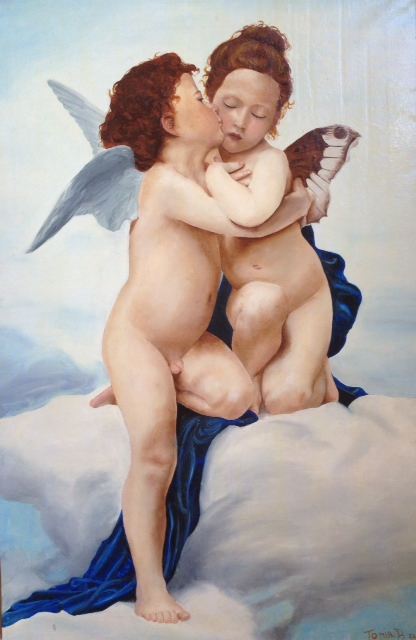 store falso d'autore The first kiss di Bouguereau