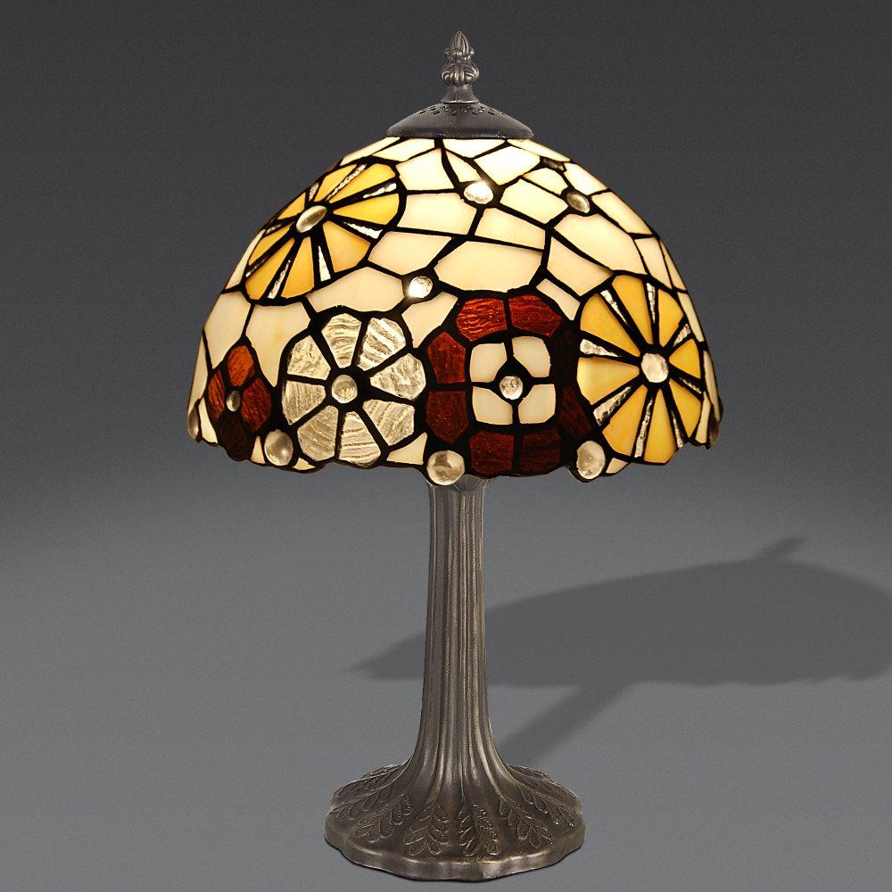 lampada stile Tiffany Abat-Jour con fiori geometrici lampada stile Tiffany in vendita.