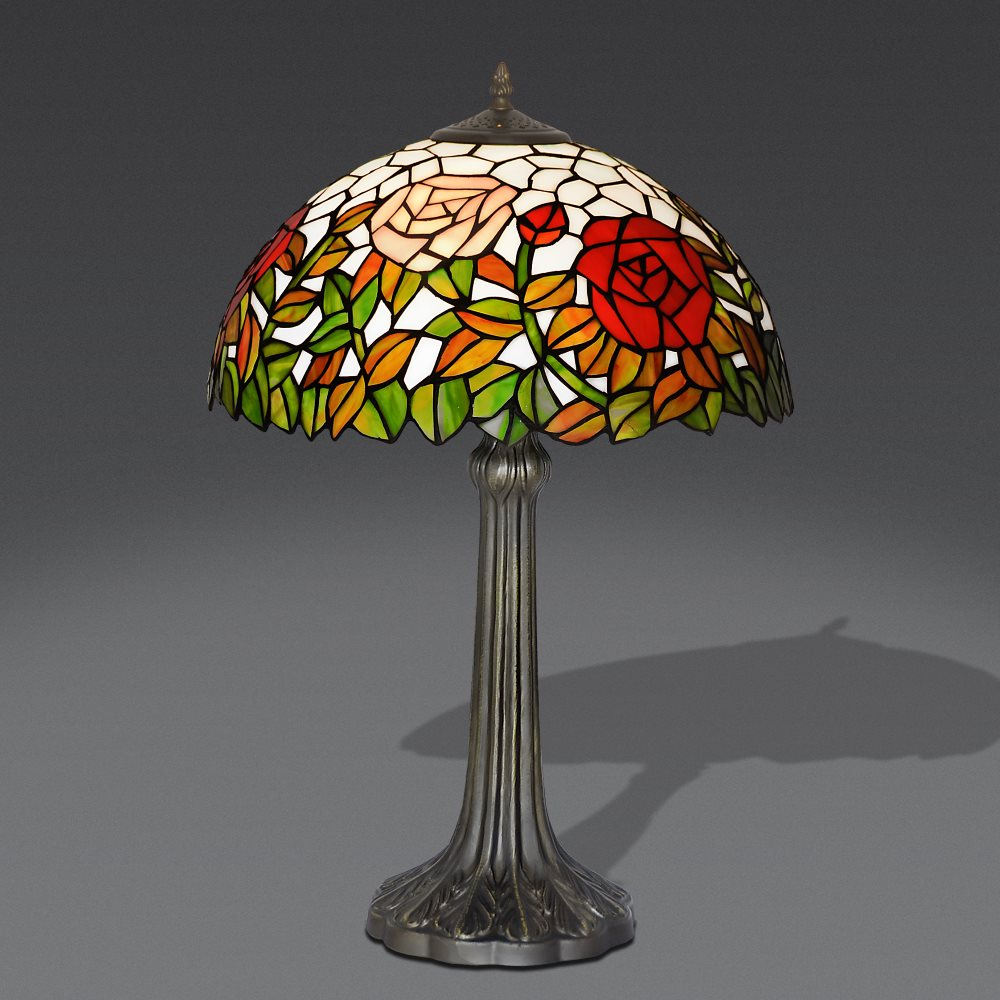 Lampada stile tiffany lampada da tavolo con rosa lampada - Lampade tiffany da tavolo ...