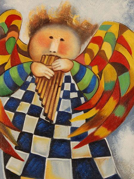 falso di autore Musique de agnes suite di Pittura Bambini in vendita.