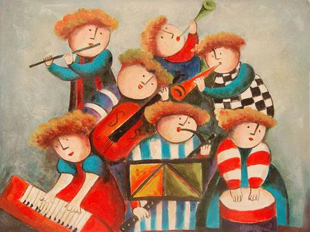 Falso di autore orchestra di bambini di pittura bambini in vendita