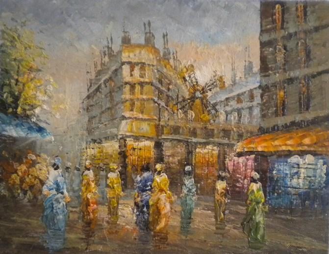 Falso di autore parigi moulin rouge i di sconosciuto in for Quadri di parigi
