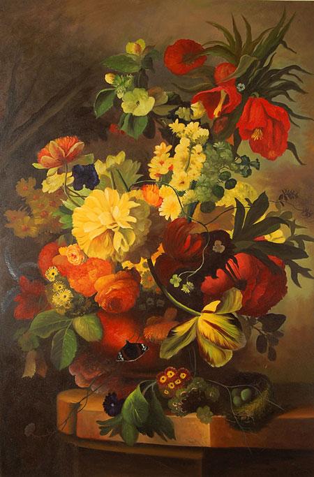Falso di autore vaso di fiori di sconosciuto in vendita for Fiori ad olio