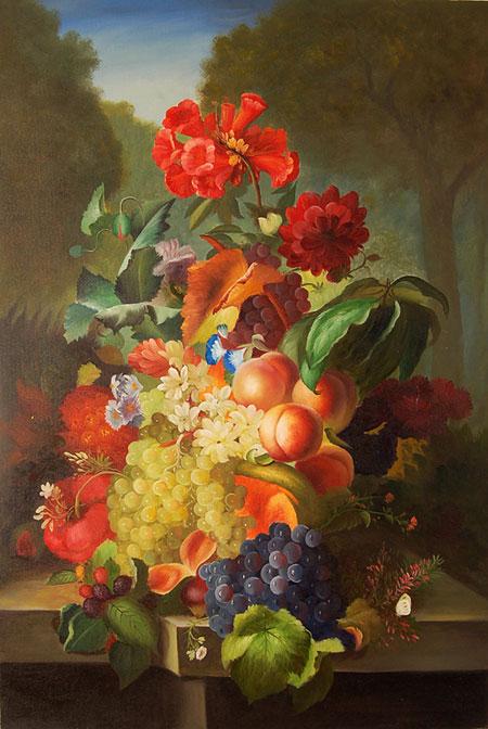 Falso di autore fiori e frutta di sconosciuto in vendita for Immagini di quadri con fiori
