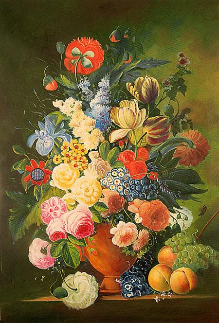 Falso di autore vaso di fiori con pesche e uva di for Immagini di quadri con fiori