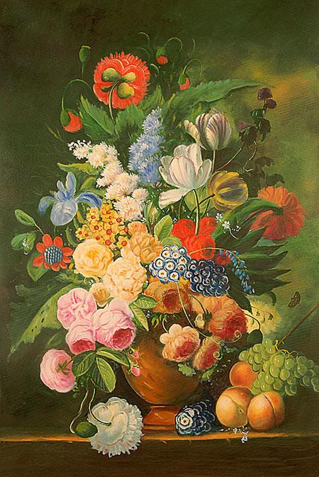 Falso di autore vaso di fiori con pesche e uva di for Vasi di fiori dipinti