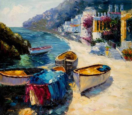 falso di autore Barche a Capri di Impressionisti in vendita.