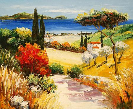 falso di autore Vista sul mare di Impressionisti in vendita.