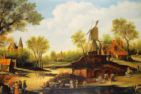Falso di autore paesaggio con fiume di sconosciuto in vendita for Piccoli piani di casa sul fiume