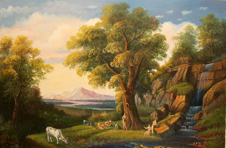 falso di autore Paesaggio con mucche di sconosciuto in vendita.