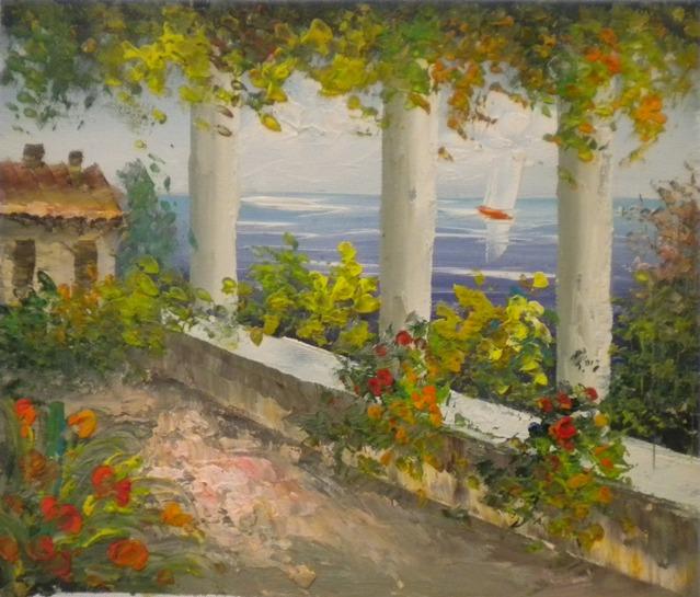 Falso di autore passeggiata sul mare di sconosciuto in for Immagini di quadri con fiori