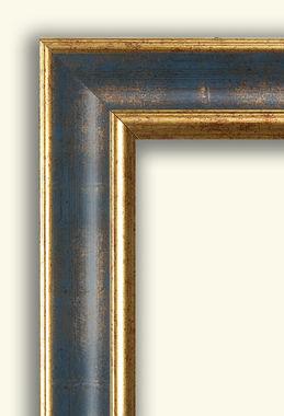 Cornice cornice classica rovesciata oro e blu la cornice for Vendita cornici per quadri