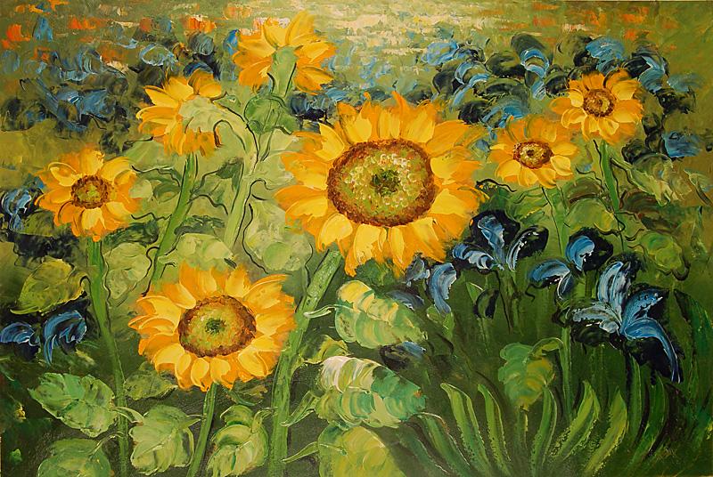 falso di autore Girasoli e Iris (AM di Van Gogh in vendita.