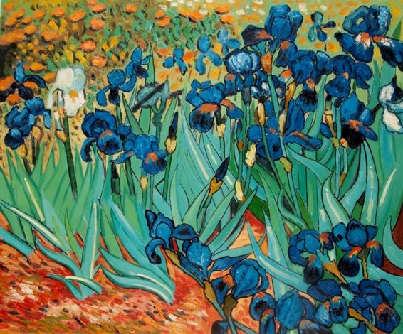 Falso di autore campo di iris di van gogh in vendita for Quadri fiori stilizzati