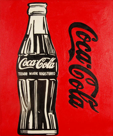 painting Coca cola by Warhol, fake painting Coca cola