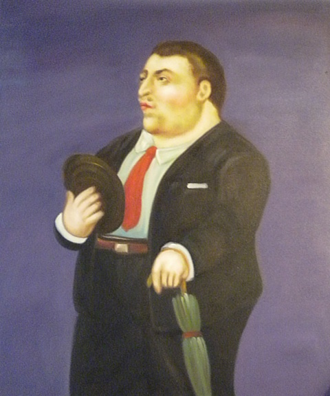Falso di autore uomo con ombrello di botero in vendita - Botero uomo in bagno ...