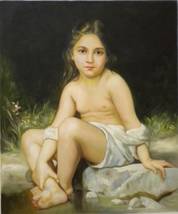 Vendita falso d'autore Child at bath di Bouguereau