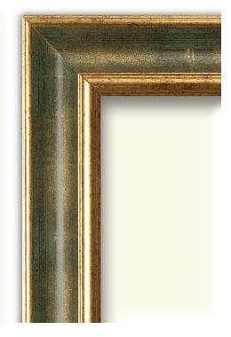 Cornice cornice classica rovesciata oro e verde la cornice for Vendita cornici per quadri