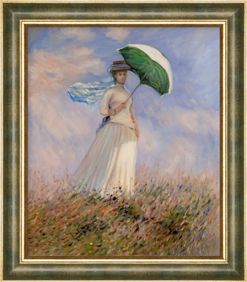 falso di autore Donna con parasole e cornice oro-verde (AM di ...