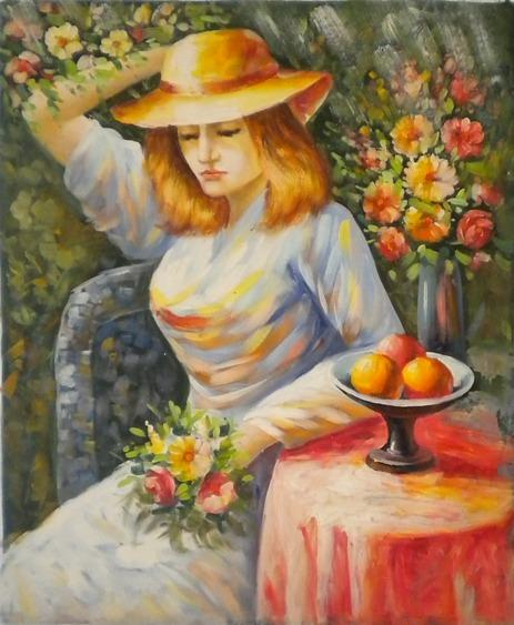 falso di autore Donna e fiori di sconosciuto in vendita.
