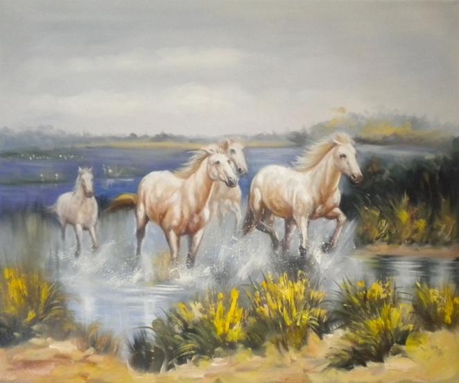 falso di autore Horses di sconosciuto in vendita.
