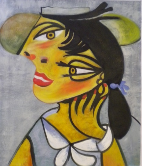 painting portrait of woman by Picasso, fake painting portrait of woman.