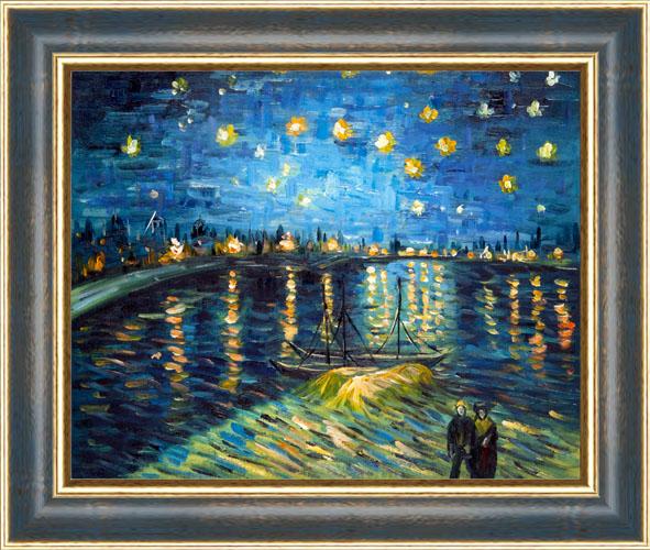 Falso di autore notte stellata cornice oro blu di van for Dipinto di van gogh notte stellata