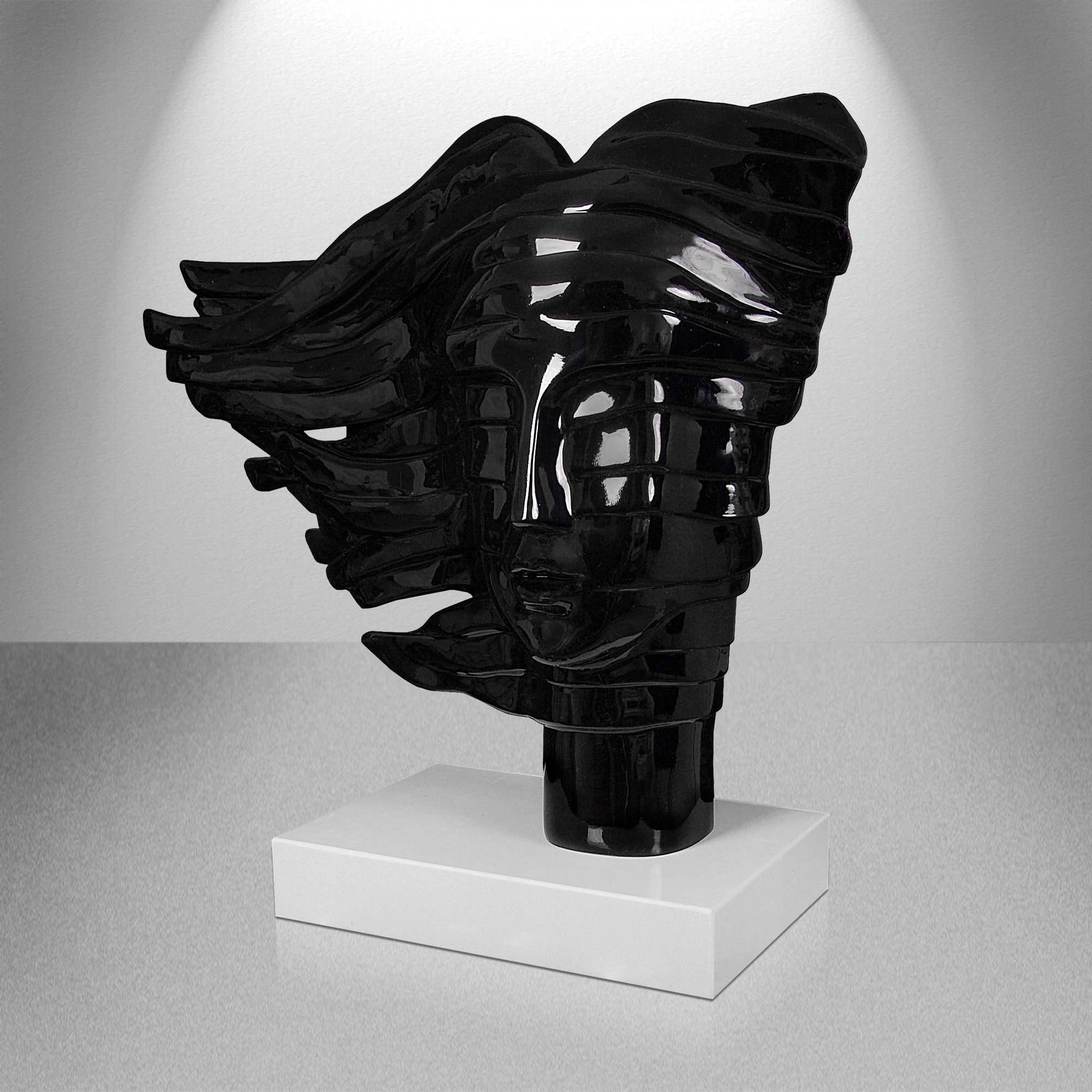 Estremamente scultura Il viso di Donna vetroresina nera, scultura in vendita. RH02